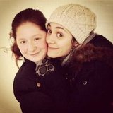 Emmy Rossum bundled up on the set of Shameless. Source: Instagram user emmyrossum