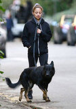 Nicole Richie took the family dog, Iro, for a walk.