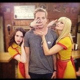 Kat Dennings and Beth Behrs posed with 2 Broke Girls guest star Ryan Hansen. Source: Instagram user katdenningsss