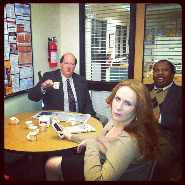Angela Kinsey snapped a photo of her castmates on the set of The Office. Source: Instagram user angelakinsey