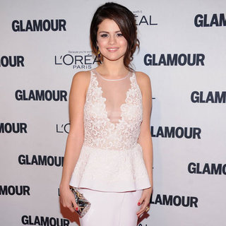 Selena Gomez Wearing Lace Peplum Dress