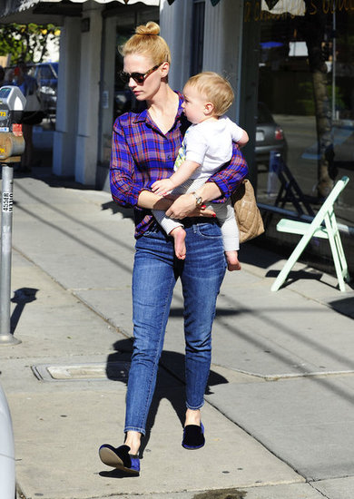 January Jones spent some time with her son, Xander.