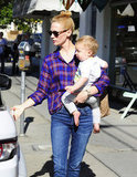 January Jones carried son Xander.