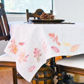DIY Fall Leaf Tablecloth