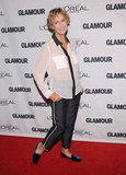 Lauren Hutton channeled the classics in a tuxedo-inspired ensemble and charming smoking slippers.
