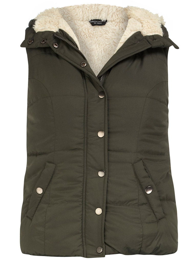 For this price, and in a cool olive-green hue to match, the Dorothy Perkins borg-lined gilet ($59) is a serious style find.