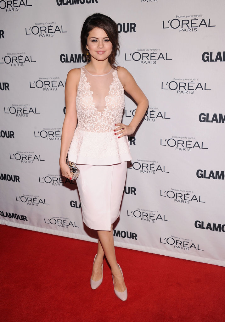 Selena Gomez slipped into a ladylike peplum-trimmed sheath by Giambattista Valli and a pair of co-ordinating pumps.