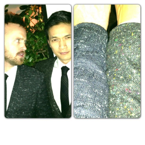Aaron Paul and Harry Shum Jr. compared suit fabrics. Source: Instagram user harryshum