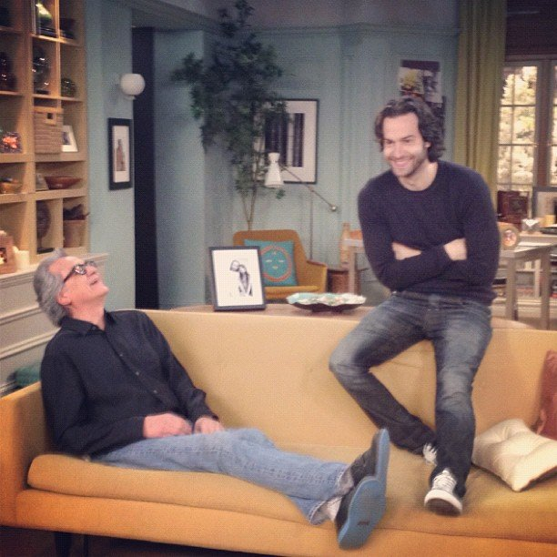 """Whitney's Chris D'Elia shared a pic, commenting, """"Me and my dad on set."""" Source: Instagram user chrisdelia"""