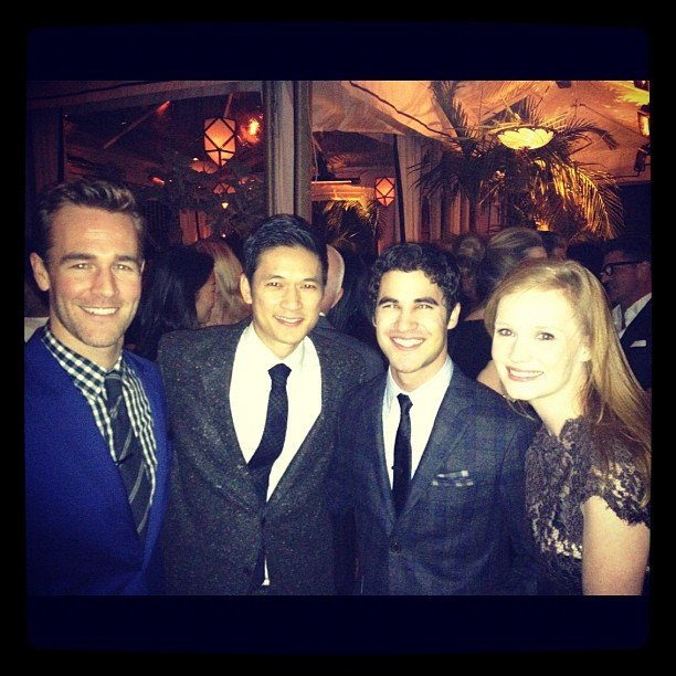 James Van Der Beek bumped into Glee's Harry Shum Jr. and Darren Criss at the GQ Men of the Year party. Source: Instagram user vanderjames
