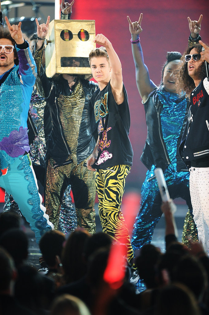 Justin Bieber sported neon printed pants back in 2011.