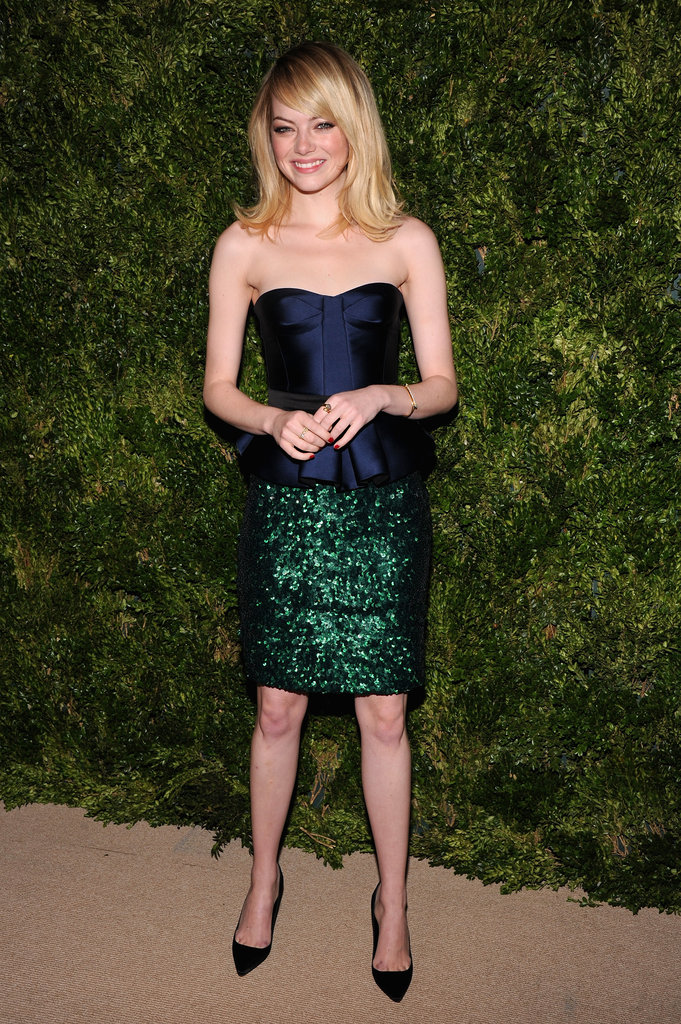 Emma Stone wore a strapless number to the awards in NYC.