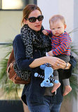 Jennifer Garner wore a leopard scarf while out with her son, Samuel, in LA.