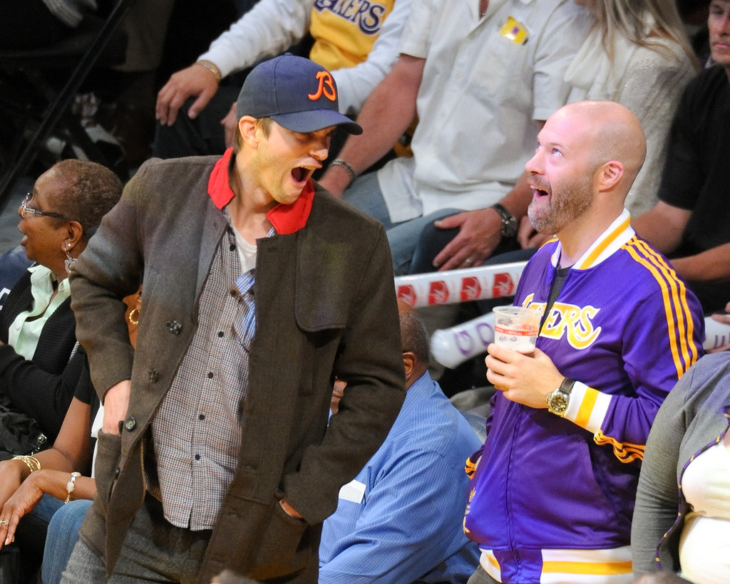 Ashton Kutcher got excited during the game.