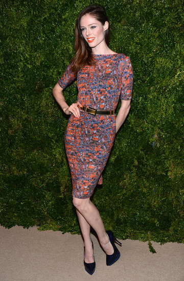 Coco Rochas wore a printed dress to attend the CFDA/Vogue Fashion Fund Awards in NYC.