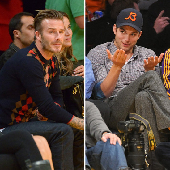 David Beckham and Ashton Kutcher Cheer Courtside For the Lakers