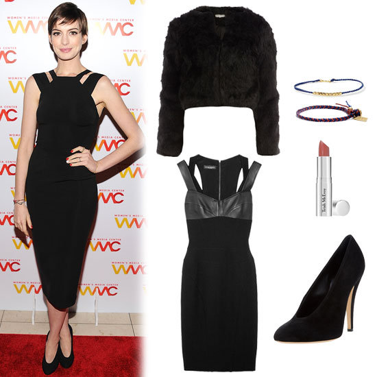 Anne Hathaway took on the Women's Media Awards in an ensemble that's easy to emulate, and even easier on the eyes. Her formfitting LBD cuts inwards at the neckline, which provides a universally flattering cut for sculpted (or nonsculpted) arms. The longer hem is appropriate for Winter festivities, but leaves enough room at the bottom to keep the calves lengthened, rather than shortened. Her look may be simple, but it's not dull. Just add a cropped fur coat (our pick is faux!), minimalistic jewelry, and a great black pump, and you're out the door. Get the look:   Narciso Rodriguez Leather Strap Dress ($1,995)  Dorothy Perkins Black Crop Fur Jacket ($79)  Trish McEvoy Classic Lip Color Natural ($23)  Madewell Braided Friendship Bracelet ($10)  Tai Rittichai Navy String Bracelet ($45)  Casadei Leather Pump ($473)