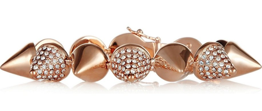 Whoever gets this Eddie Borgo Rose gold-plated crystal cone bracelet ($750) is one lucky style setter. It's a cool combination of edgy, girlie, and if you're a believer in arm parties, this is a great starting point.