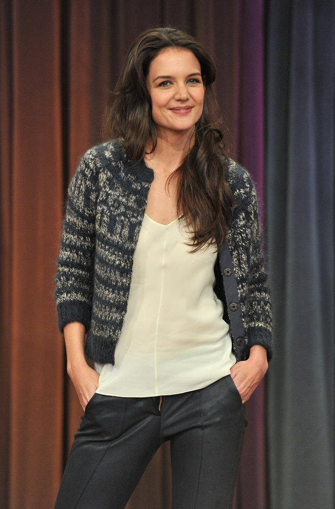 Katie Holmes struck a pose on Late Night With Jimmy Fallon.