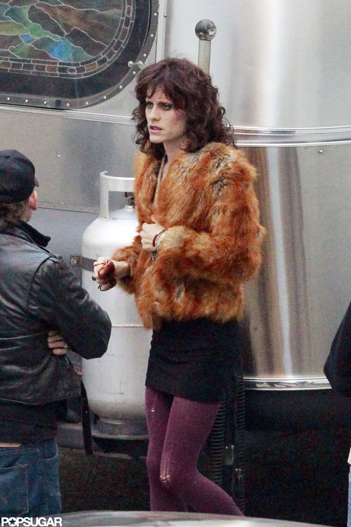 Jared Leto wore a wig and makeup on set.