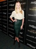 Lindsay Ellingson walked the red carpet in a slim, emerald green leather pencil skirt.