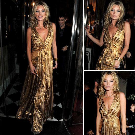 Kate Moss made a very compelling case for wearing gold this holiday season.