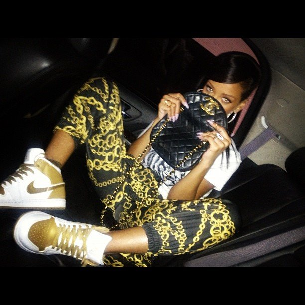 Rihanna looked cool in her chain-print pants and Chanel bag. Source: Instagram user badgalriri