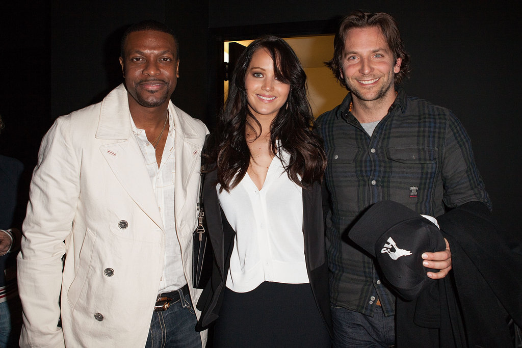 Jennifer Lawrence, Bradley Cooper, and Chris Tucker smiled for photos at the Silver Lining Playbook sreening in LA.