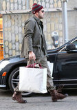 Ben Affleck carried his bags back to his car.