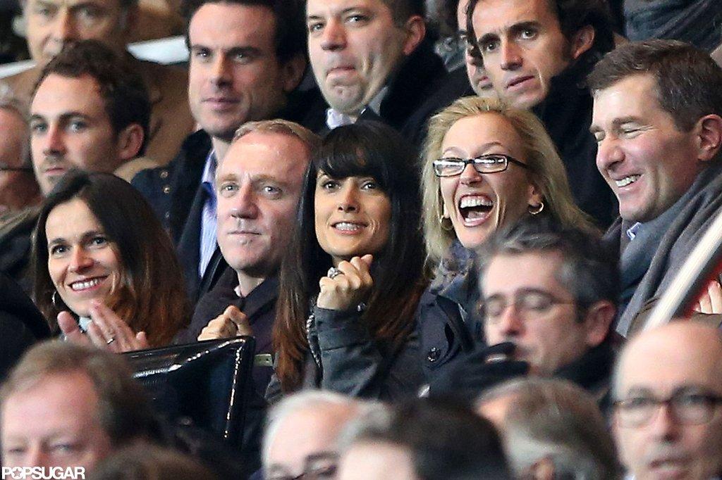Salma Hayek and Francois-Henri Pinault cheered for their team.