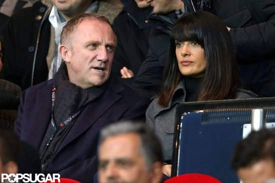 Salma Hayek and Francois-Henri Pinault chatted while watching the game.