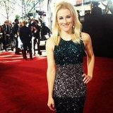 Our own PopSugar editor Lindsay Miller sparkled in sequins on the red carpet.  Source: Instagram user lindsaylmiller
