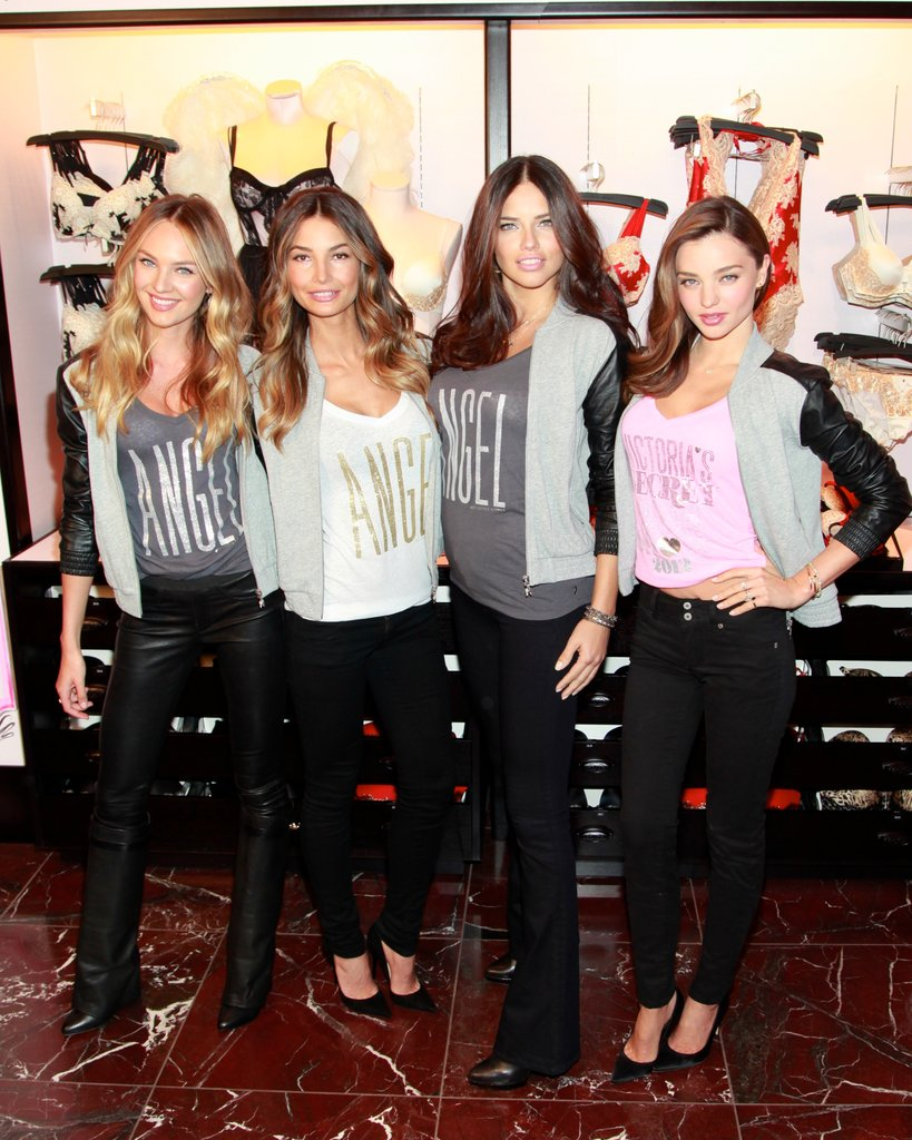 Victoria's Secret Angels Miranda Kerr, Lily Aldridge, Adriana Lima, and Candice Swanepoel got together at Victoria's Secret Herald Square in NYC.