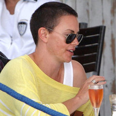 Charlize Theron Shaved Head Pictures in South Africa