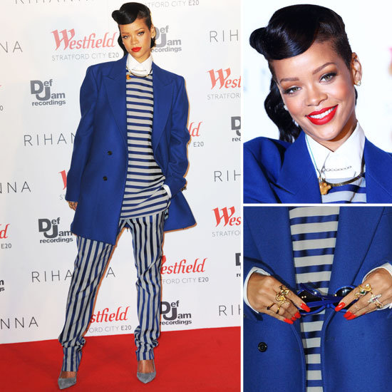 Rihanna Is Fresh Off the Runway in a Striped Menswear Look