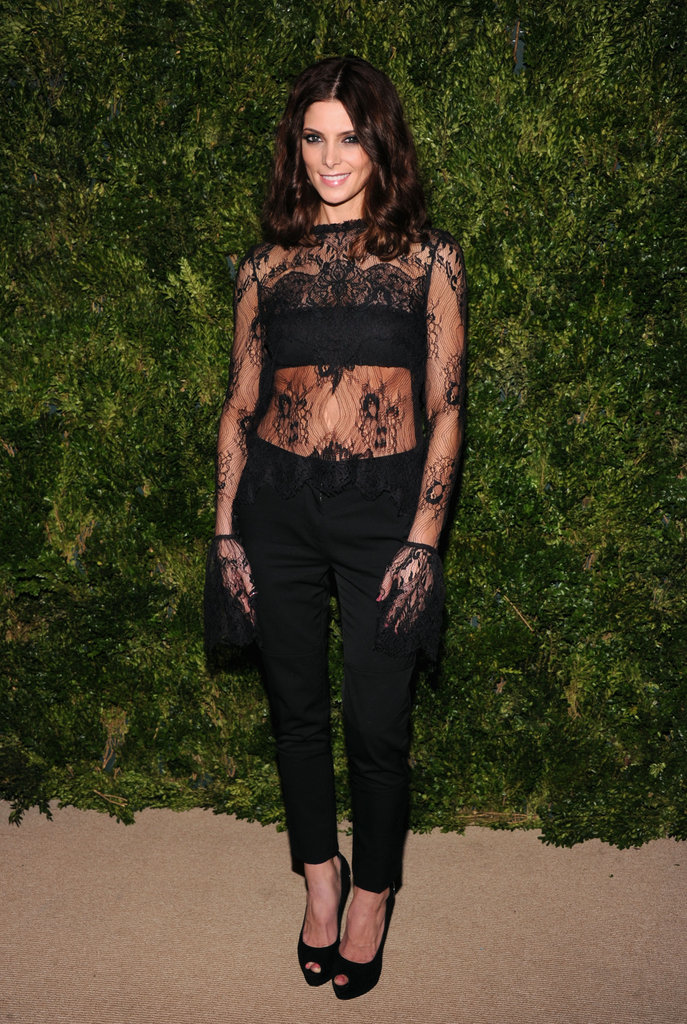 Ashley Greene took a black lace risk by wearing a see-through Wes Gordon top — and matching gloves — with cropped trousers and peep-toe pumps.