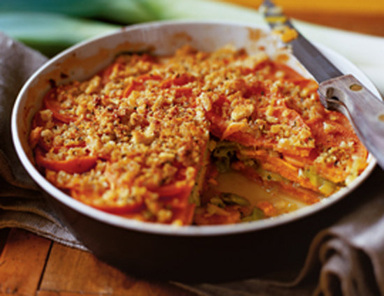 Baked Leek and Sweet Potato Gratin