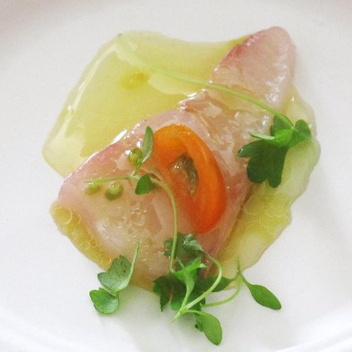 Fluke Crudo With Cancale Salt and Bergamot Vinaigrette