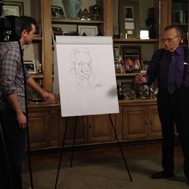 Seth MacFarlane drew a sketch of Larry King. Source: Instagram user larrykingnow