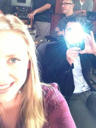 Grey's Anatomy costars Jessica Capshaw and Patrick Dempsey fooled around with dueling cameras. Source: Twitter user JessicaCapshaw