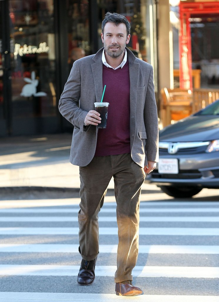 Ben Affleck sported a maroon sweater and blazer.