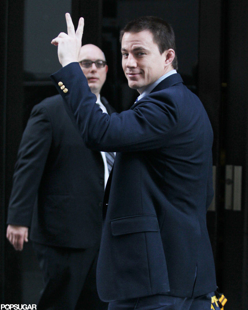 Channing Tatum gave the peace sign in a suit jacket.