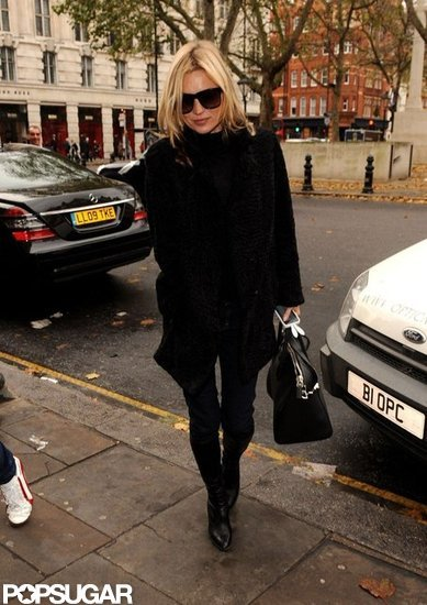 Kate Moss donned an all-black ensemble.