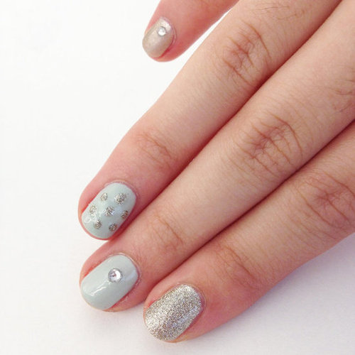 Holiday Nail Art Tutorial With Glitter and Rhinestones