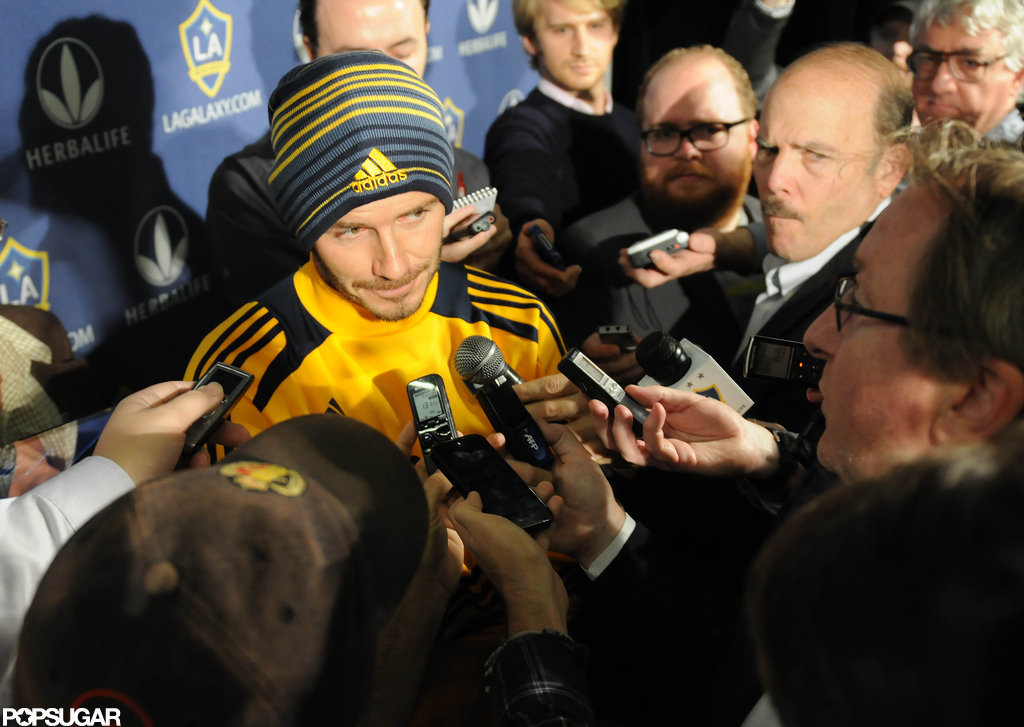 David Beckham talked to reporters.