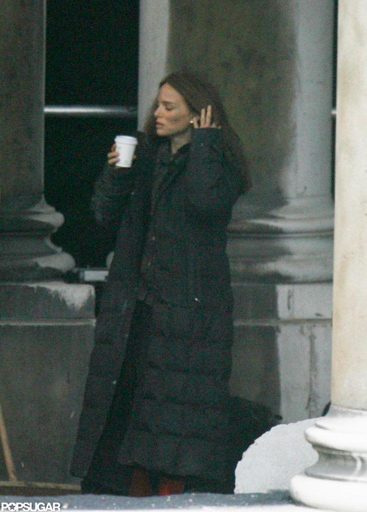 Natalie Portman took a break on set in London.