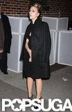 Scarlett Johansson wore high black heels to The Late Show.