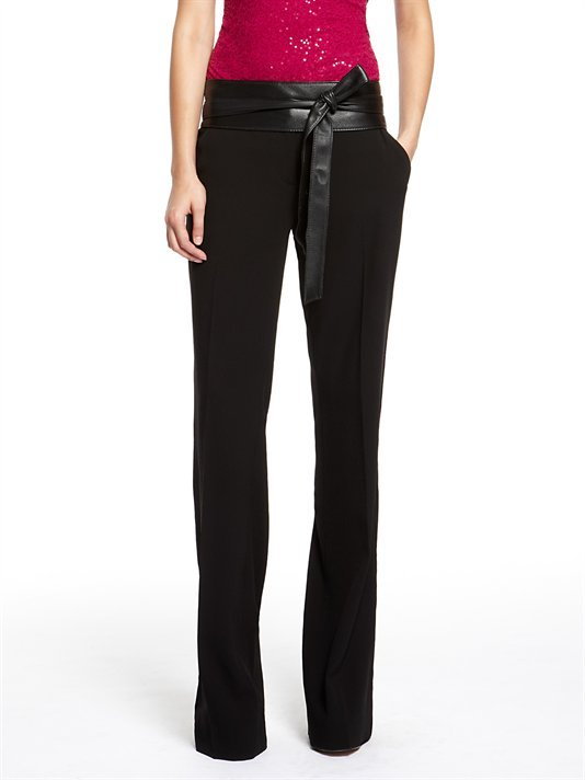 The leather sash detailing gives these DKNY Satin Back Crepe Flare Leg Tuxedo Pants ($335) the perfect dressy touch.