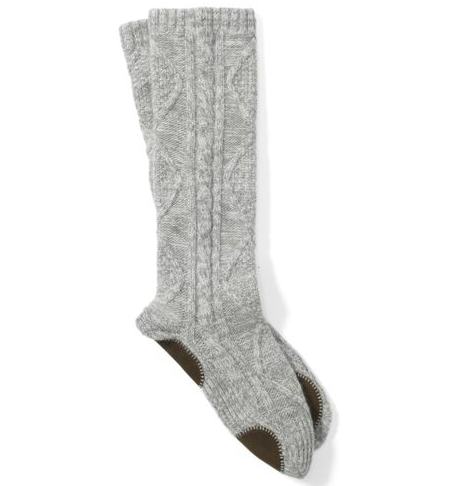 These Club Monaco Sabrina slipper socks ($99) are a real at-home treat: cashmere, no-slip soles, and a classic cable-knit finish all rolled into one.