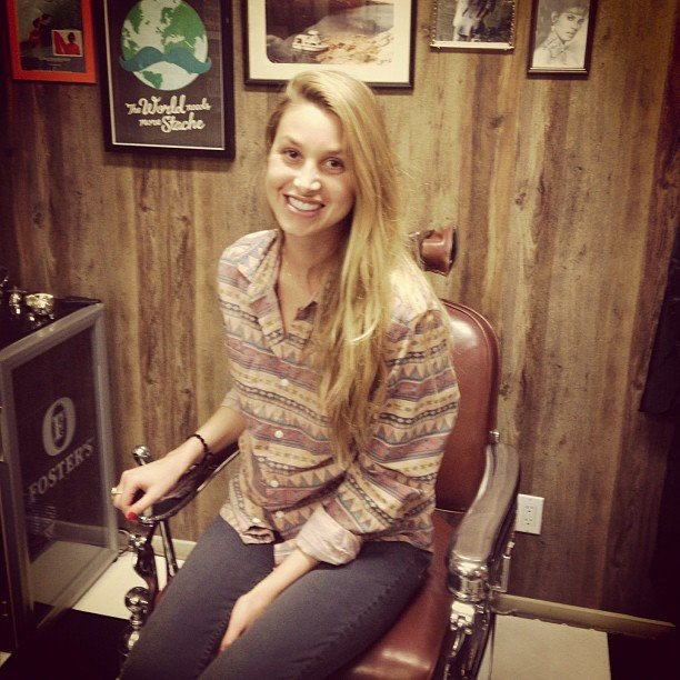Whitney Port honored Movember in a classic barber shop.  Source: Twitter User WhitneyEvePort